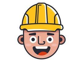 construtor em um capacete amarelo. Construtor de personagens fofinhos. vetor