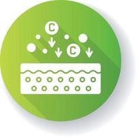 ícone de glifo de sombra longa design plano verde colágeno vetor