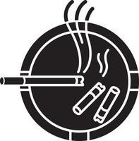 cinzeiro ícone de glifo preto vetor