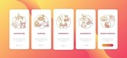 terapias tradicionais integrando a tela da página do aplicativo móvel com conceitos vetor