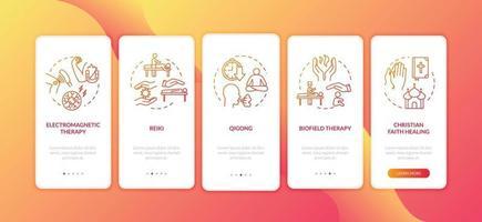 tela da página do aplicativo de integração de medicina de energia externa com conceitos vetor