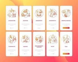 tela da página do aplicativo de integração de medicina complementar com conjunto de conceitos vetor