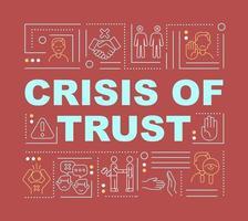crise de confiança e esquema global de conceitos de palavras banner vetor