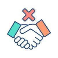 ícone de cor rgb de negação de colaboração vetor