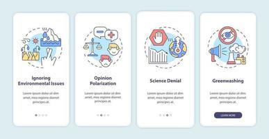 efeitos do ceticismo climático na tela da página do aplicativo móvel vetor