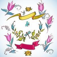 Conjunto gráfico de casamento, louro, coroas de flores, fitas