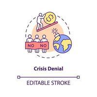 ícone do conceito de negação de crise vetor