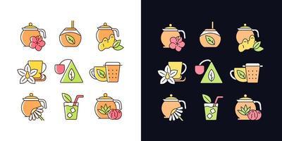 chá e bebidas semelhantes a chá conjunto de ícones de cores rgb de tema claro e escuro vetor