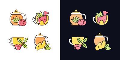 Conjunto de ícones de cores rgb de tema claro e escuro chá medicinal vetor