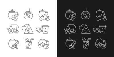ícones lineares de bebidas semelhantes a chá e chá definidos para o modo claro e escuro vetor