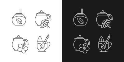ícones lineares de chá de ervas definidos para o modo claro e escuro vetor
