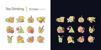 conjunto de ícones de cores rgb de tema claro e escuro para beber chá vetor