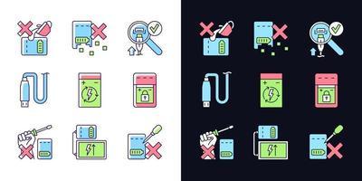 conjunto de ícones de etiqueta de cor rgb tema claro e escuro carregador portátil cuidados vetor