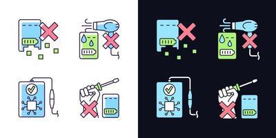 Conjunto de ícones de etiqueta de cor rgb de tema de luz e escuro de vida do banco de energia vetor