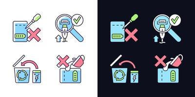 guia de carregador portátil conjunto de ícones de etiqueta de cor rgb tema claro e escuro vetor