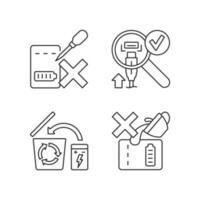 conjunto de ícones de etiquetas manuais lineares para carregadores portáteis vetor