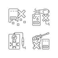 prolongando a vida útil do banco de energia conjunto de ícones de rótulos manuais lineares vetor