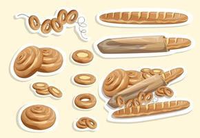 imagem vetorial de adesivos de pão branco e outros produtos de farinha vetor