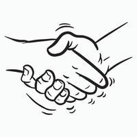 ilustração em vetor desenho animado aperto de mão em preto e branco