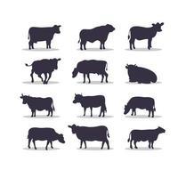 desenho de ilustração vetorial silhueta de vaca vetor