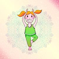 Menina do iogue que está em uma pose da árvore. vetor