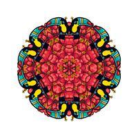 Rodada ornamento estilo psicodélico dos anos 60 da planta tropical e elementos vetor