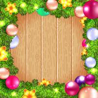 Guirlanda de Natal com bugigangas e árvore de natal, vetor