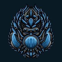 ilustração de arte de vetor de monstro de água azul