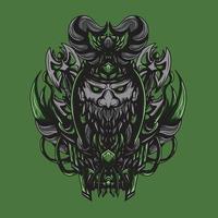 ilustração de arte de vetor morto-vivo viking