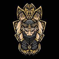 ilustração da arte de gatot kaca com ilustração vetorial de gravura vetor