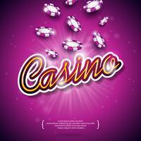 Ilustração vetorial em um tema de cassino com fichas de poker colorido