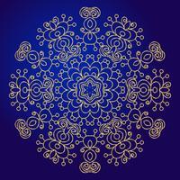 Mandala, amuleto. Símbolo esotérico do ouro em um fundo azul. vetor