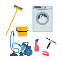 utensílios domésticos balde spray de cozinha, aspirador de pó, material de limpeza vetor