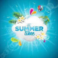 Vector é a ilustração tipográfica de férias de verão com plantas tropicais