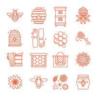 Mel, e, apicultura, ícones