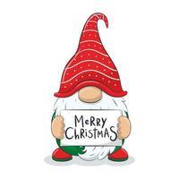 gnomo alegre bonito com frase-feliz Natal. vetor
