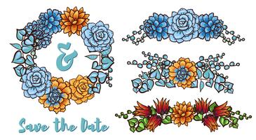 Coroa de flores suculentas de vetor