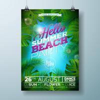 Vector verão praia festa Flyer Design com design tipográfico