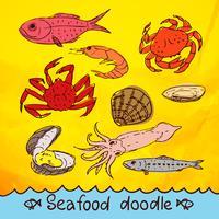 conjunto de vetores de frutos do mar série rabisco