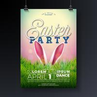 Vector Páscoa Party Flyer ilustração com orelhas de coelho e elementos de tipografia