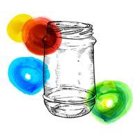 Rústico, pedreiro e frascos de conservas mão desenhada