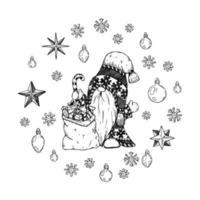 mão desenhada gnomo de Natal e bolsa com presentes e flocos de neve. vetor
