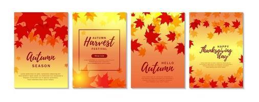 conjunto de banners verticais de outono com folhas de plátano vetor
