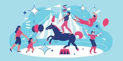 composição de doodle de parque de diversões de circo vetor