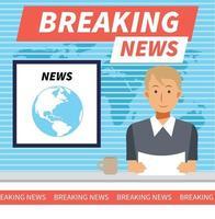 conceito de ilustração vetorial plana de notícias de última hora. apresentador de notícias masculino vetor