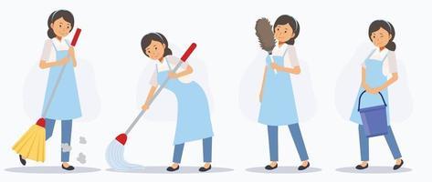 conjunto de limpador feminino em várias ações, varrendo, esfregando, espanando. vetor
