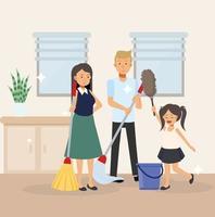 família, mãe, pai e filha estão limpando o quarto todos juntos. vetor