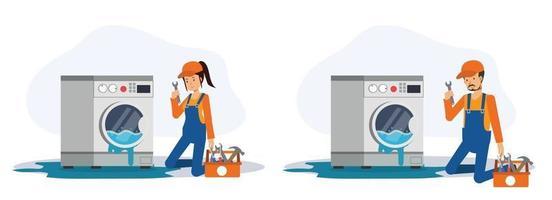 mecânico e feminino vêm verificar e consertar a máquina de lavar. vetor