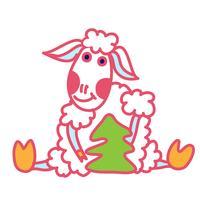 estilo de doodle de ovelhas vetor