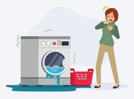 mulher é chocante porque sua máquina de lavar está quebrada. vetor